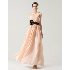 Romantic Tailored One Shoulder Ankle Length Pleated Chiffon Bridesmaid Dress with Belt