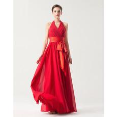 Romantic Empire Halter V-neck Floor Length Pleated Chiffon Bridesmaid Dress with Belt