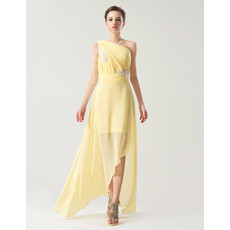 Romantic One Shoulder High Low Chiffon Prom Party Dress for Women