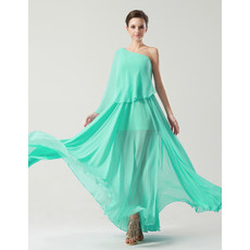 Designer One Shoulder Asymmetric Floor Length Chiffon Prom/ Party Dress