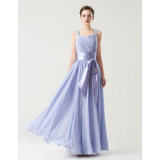 Inexpensive A-Line Sweetheart Long Chiffon Bridesmaid Dress with Sash