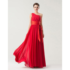 Simple One Shoulder Floor Length Red Chiffon Bridesmaid Dress