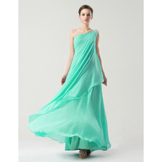 Custom One Shoulder Floor Length Chiffon Prom/ Party Dress