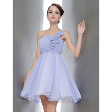Simple Princess One Shoulder Mini Chiffon Bridesmaid Dress for Summer Wedding