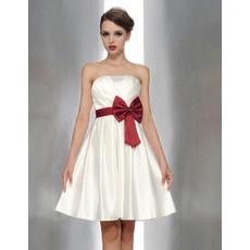 Cheap Princess Strapless Mini Bridesmaid Dress with Sash