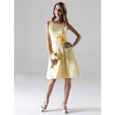 A-Line Bateau Knee Length Yellow Satin Bridesmaid Dress