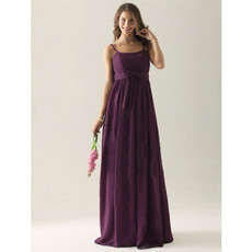 Cheap A-Line Spaghetti Straps Long Purple Chiffon Bridesmaid Dress