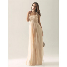 Elegant Column Halter Floor Length Chiffon Bridesmaid Dress