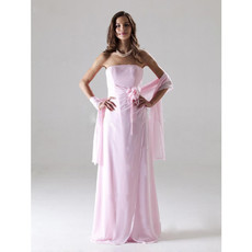 Elegant Column Strapless Floor Length Pink Chiffon Bridesmaid Dress