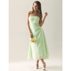 Romantic A-Line Strapless Tea Length Chiffon Bridesmaid Dress