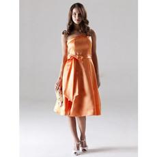 Vintage A-Line One Shoulder Short Satin Bridesmaid Dress