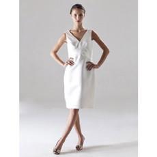 Designer Column V-Neck Knee Length Satin Bridesmaid Dress