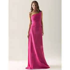 Simple A-Line One Shoulder Floor Length Chiffon Bridesmaid Dress