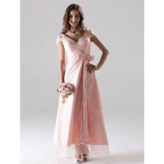 Custom Modest A-Line V-Neck Ankle Length Satin Bridesmaid Dress