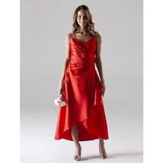 Classic A-Line Spaghetti Straps Asymmetric Satin Bridesmaid Dress