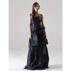 Cheap A-Line Strapless Floor Length Taffeta Bridesmaid Dress