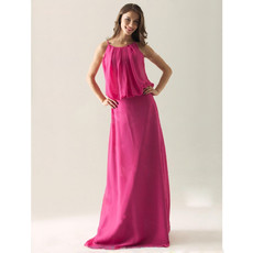 Modern Column Spaghetti Straps Floor Length Chiffon Bridesmaid Dress