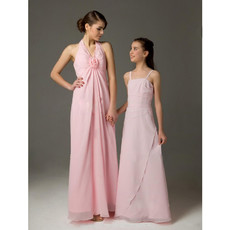 Sheath Halter Floor Length Chiffon Bridesmaid Dress for Sping Wedding