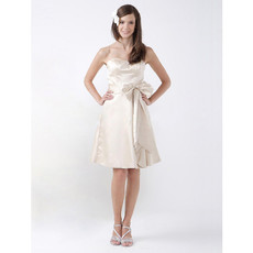 Custom A-Line Sweetheart Knee Length Satin Bridesmaid Dress