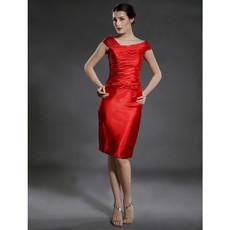 Sheath/ Column Bodycon Knee Length Red Satin Bridesmaid Dress