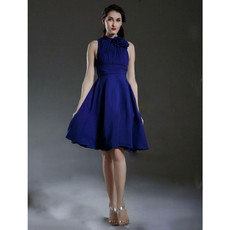 Custom A-Line High-Neck Short Blue Satin Bridesmaid Dress for Women