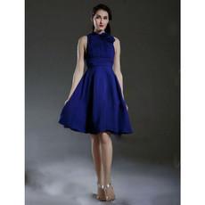 Custom A-Line High-Neck Short Satin Bridesmaid Dress