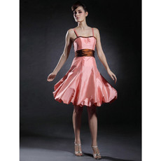 A-Line Spaghetti Straps Knee Length Taffeta Bridesmaid Dress