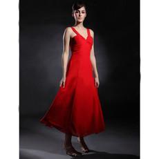Classic A-Line V-Neck Tea Length Chiffon Bridesmaid Dress for Women