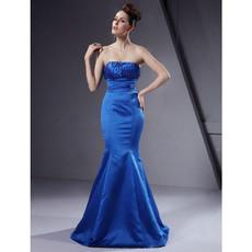 Vintage Mermaid Strapless Floor Length Blue Satin Bridesmaid Dress