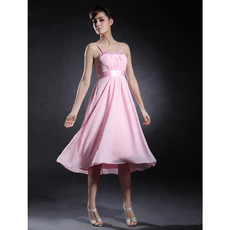 Simple A-Line Spaghetti Straps Short Pink Chiffon Bridesmaid Dress