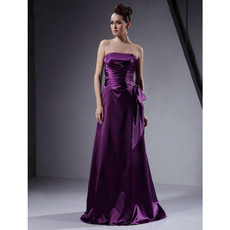 Vintage A-Line Strapless Long Purple Satin Bridesmaid Dress for Women