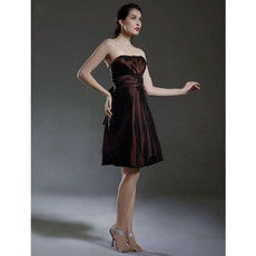 Vintage A-Line Strapless Short Taffeta Bridesmaid Dress for Women