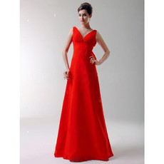 Vintage A-Line V-Neck Floor Length Red Satin Bridesmaid Dress for Women