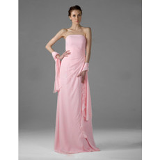 Vintage Chiffon Strapless Floor Length Bridesmaid Dress for Women