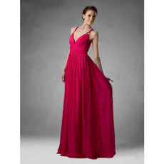 Simple A-Line Straps Floor Length Chiffon Bridesmaid Dress for Women