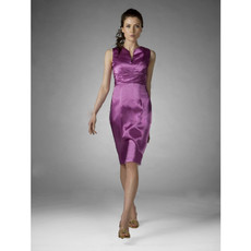 Vintage Bodycon Sheath/ Column Knee Length Satin Bridesmaid Dress