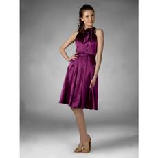 Cheap Designer A-Line Knee Length Purple Satin Bridesmaid Dress