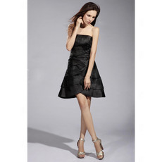Cheap A-Line Strapless Short Satin Tiered Little Black Bridesmaid Dress