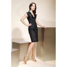 Discount Bodycon Sheath V-Neck Knee Length Satin Bridesmaid Dress