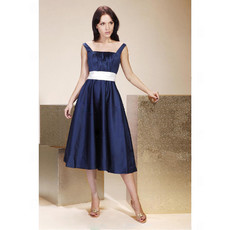 Vintage A-Line Square Knee Length Taffeta Bridesmaid Dress