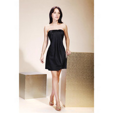 Sexy Sheath/ Column Strapless Short Satin Little Black Bridesmaid Dress