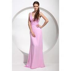 Affordable Sheath/ Column V-Neck Pink Long Chiffon Bridesmaid Dress