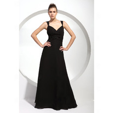 Designer A-Line Sweetheart Long Black Chiffon Bridesmaid Dress for Women