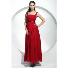 A-Line Square Ankle Length Red Chiffon Bridesmaid Dress for Women