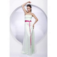 Simple Sheath/ Column Strapless Floor Length Satin Bridesmaid Dress