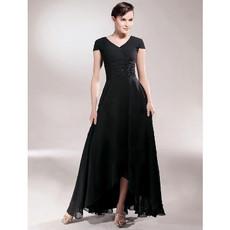 Classy A-Line V-Neck High Low Black Chiffon Prom Evening Dress for Women