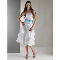 Custom A-Line Strapless Knee Length Taffeta Bridesmaid Dress for Maid of Honour