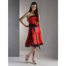 A-Line Strapless Knee Length Satin Bridesmaid Dress Maid of Honour