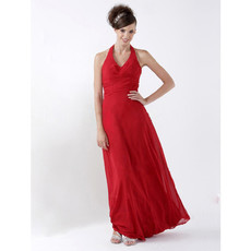 Sheath Halter Floor Length Satin Bridesmaid Dress for Maid of Honour