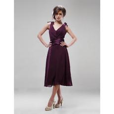 A-Line V-Neck Knee Length Chiffon Bridesmaid Dress for Maid of Honour
